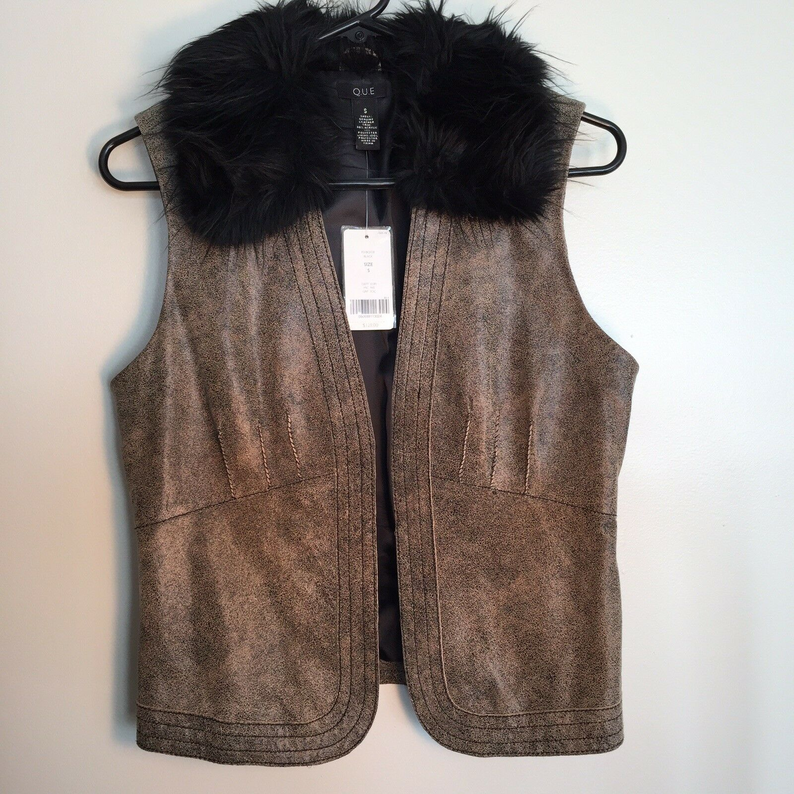 Que Genuine Genuine Genuine Leather And Faux Fur Women's Vest aa426b