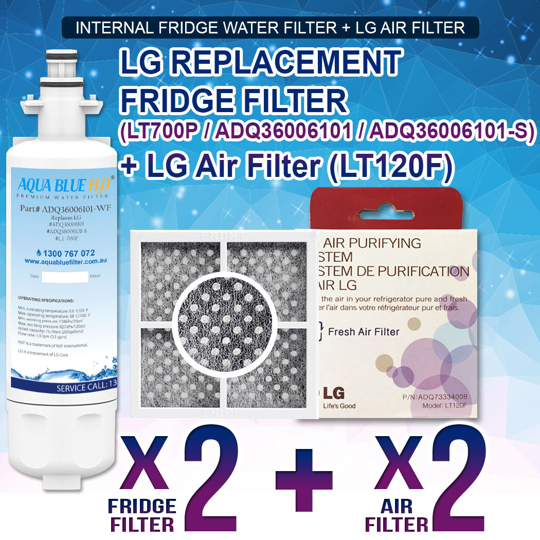 (2X) LG REPLACEMENT WATER FILTER LT700P WITH (2X)LG AIR FILTER LT120F