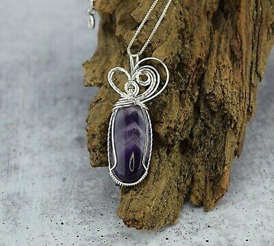 Silver wire wrap chevron amethyst silver pendant
