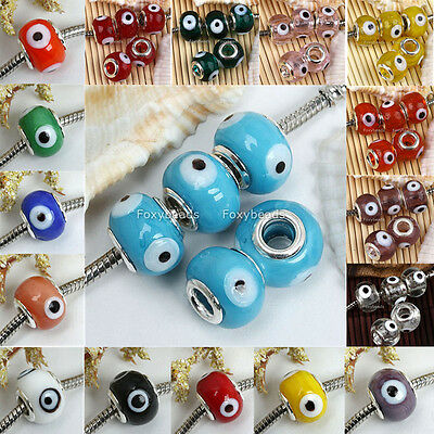 5pc Lampwork Glass Colors Evil Eye European Charm Beads Fit Jewelry DIY Gift fb