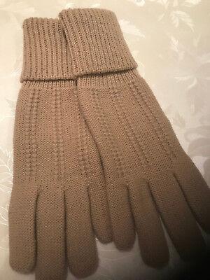 1 Paar Beige Damenfingerhandschuhe Strick Gr. 6,5 Neu