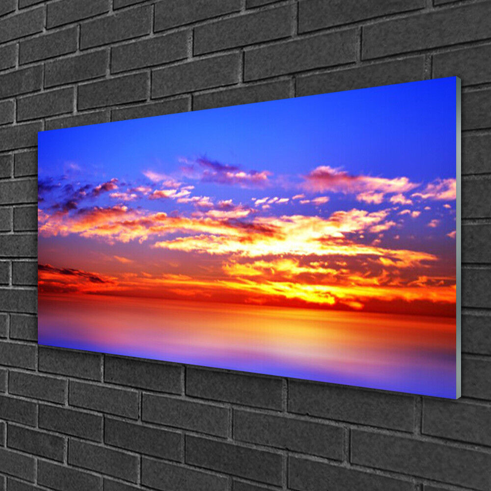 Tableau sur verre Image Impression 100x50 Paysage Ciel Nuages Mer