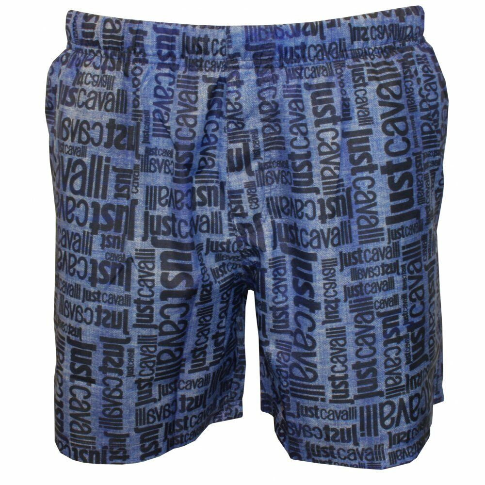 Jeans-Effekt Faded All Over Logo Print Swim Shorts, Blau  | Kostengünstig  | Leicht zu reinigende Oberfläche  | Hohe Qualität und Wirtschaftlichkeit