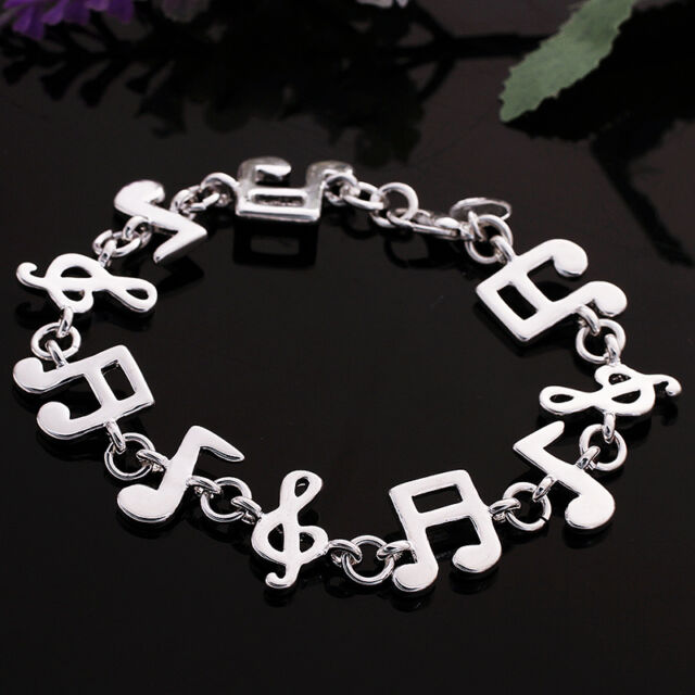 New Women 925 Sterling Silver Plated Charm Cute Music note Chain Bracelet Bangle