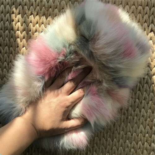 Multi-color Real Fox Fur Purse Clutch Handbag Wallet Phone Pouch Hand Warmer