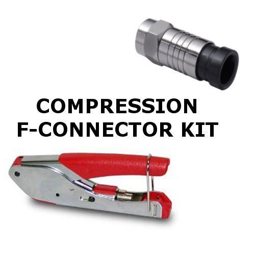 SET - F COMPRESSION TOOL & 25 COMPRESSION CONNECTORS - SNAP-SEAL CRIMP QUALITY