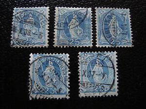 Switzerland-Stamp-Yvert-and-Tellier-N-73-x5-Obl-A8-Stamp-Switzerland-R
