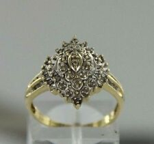 0.12 ctw Diamonds 10k Yellow Gold Cluster Ring Size 7.5 (3.1 grams)