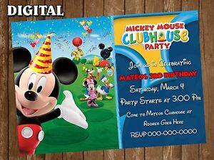 Mickey Mouse Clubhouse Digital Party Invitation Personalized