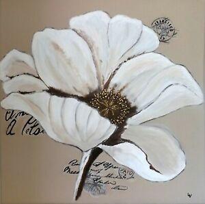 Détails Sur Tableau Peinture Acrylique Portrait Fleur Blanche Moderne Neuf