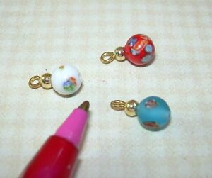 Miniature 3 Colorful Glass Bead Christmas Ornaments (Set B): DOLLHOUSE 1/12