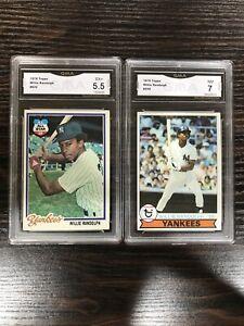 Willie-Randolph-1978-Topps-620-1979-Topps-250-GMA-7-Near-Mint-New-York-Yankees