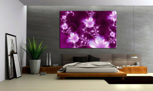 Fleurs d/'ornement toile violet style image sur châssis a00793 pas cher