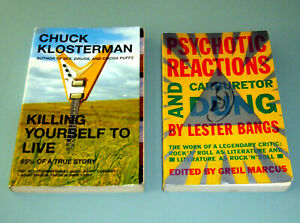 2 book ROCK MUSIC JOURNALISM LESTER BANGS CHUCK KLOSTERMAN Coltrane psychedelic
