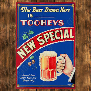 ALUMINIUM-SIGN-200MM-X-285MM-TOOHEYS-NEW-SPECIAL-THE-BEER-DRAWN-HERE