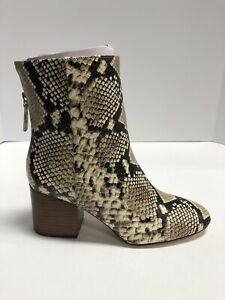 Fashion Leather Zip Booties Snake Skin Boots Handmade Brown Leather Women Ankle Boots
