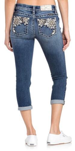 Miss Me Jeans Womens Cuffed God Floral Border Medium Wash Mid Rise Capris M3319P