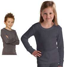 6bd6ebb5 Boys Girls Children Long Sleeve Thermal Vest Grey White Start Age 2 up Age  13