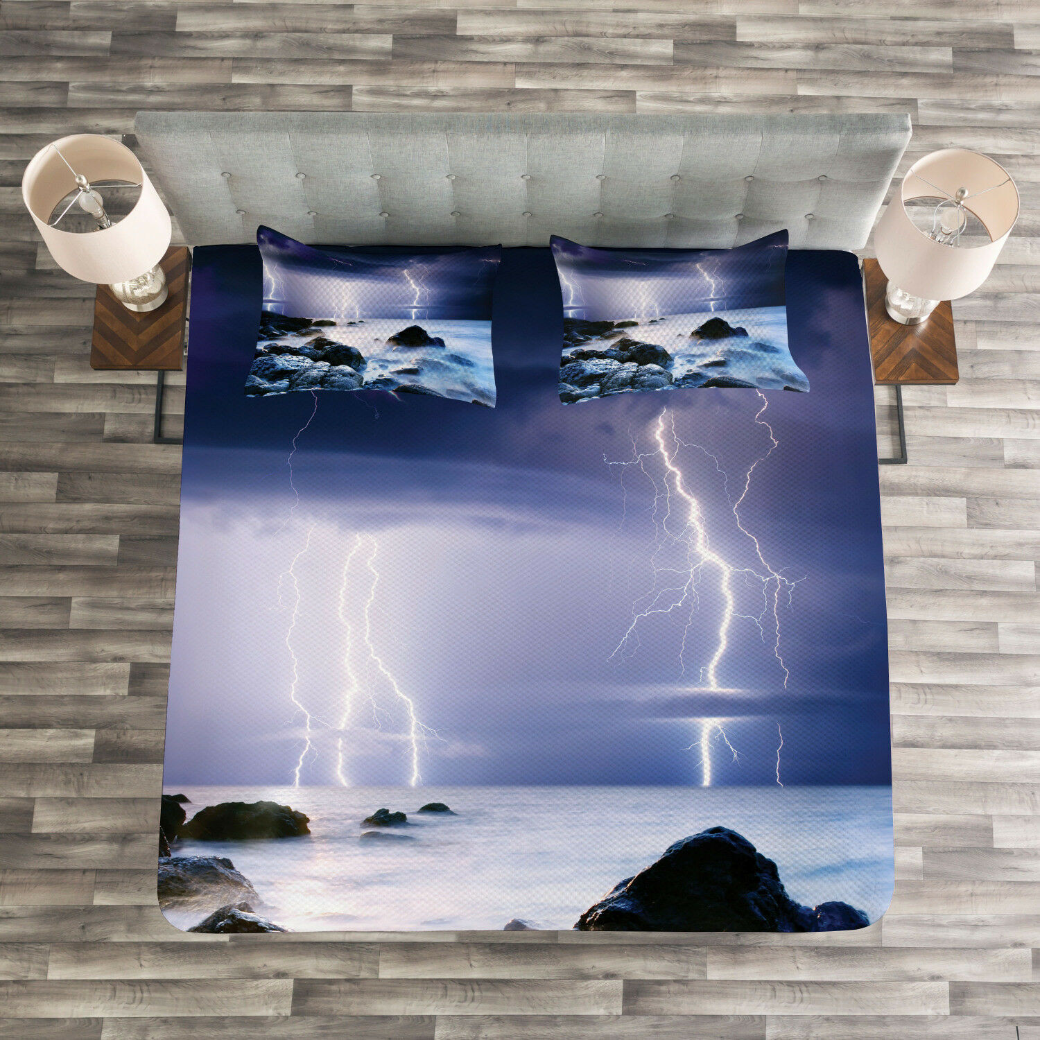 Nature Quilted Bedspread & Pillow Shams Set, Stormy Weather in Summer Print