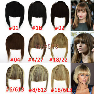 Fashion-Clip-on-Front-Inclined-Bangs-Fringe-Human-Hair-Extensions-16colors