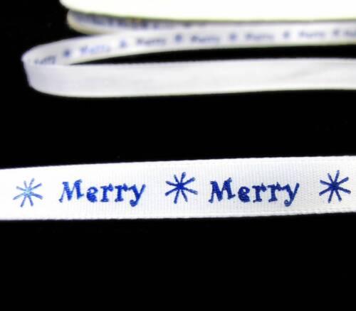"SALE !! 10 Yards Christmas Merry Star Snowflake White Satin Ribbon 3//8/""W"