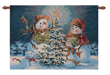 Snow Family ~ Snowmen Christmas Fiber Optic Tapestry Wall Hanging