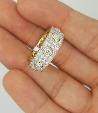 NEW 14K YELLOW GOLD ROUND DIAMOND CLUSTER ANNIVERSARY WEDDING RING BAND Sz 8.25
