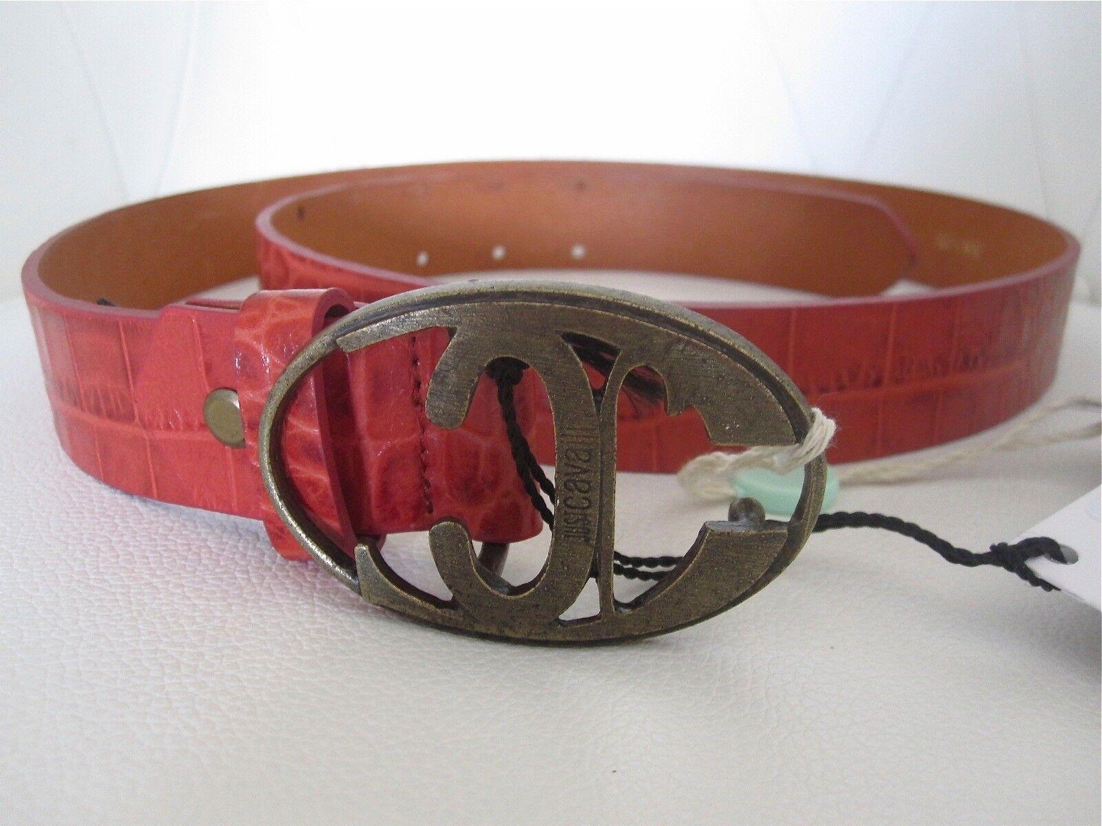 ! nuevo! sólo CAVALLI Naranja Croco Cinturón de cuero con logotipo Unisex Cintura Original W. Etiquetas