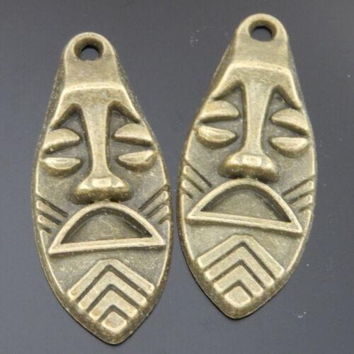 36x15x4mm Vintage Bronze Alloy Funny Facial Expression Pendants Charms 10 pcs