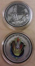 New Kennedy Center NASA Space Shuttle Flown Metal Coin Medallion Antique Silver