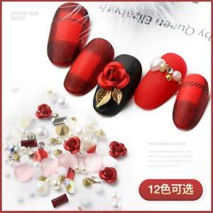 Beauty-DIY-Glitter-Crystal-3D-Flowers-Alloy-Rose-Mix-Gems-Nail-Art-Rhinestones