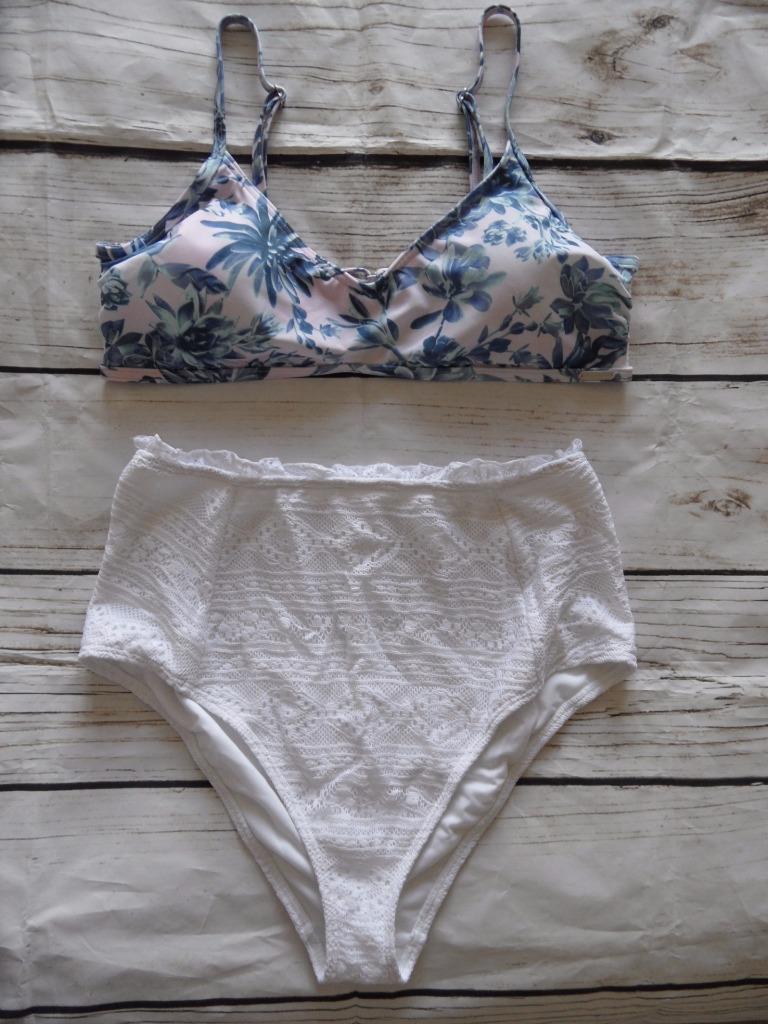 New Free Society Ex Branded White Floral Mix & Match Bikini Set Size 14  - K14