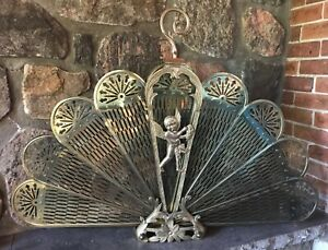 Vtg-Brass-Folding-Peacock-Fan-Fireplace-Screen-Cherub
