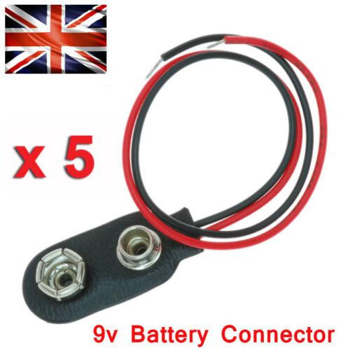 PP3 9V Batería x5 Enchufe de Alimentación DC Conectores Snap en estañado cables Hazlo tú mismo proyecto UK