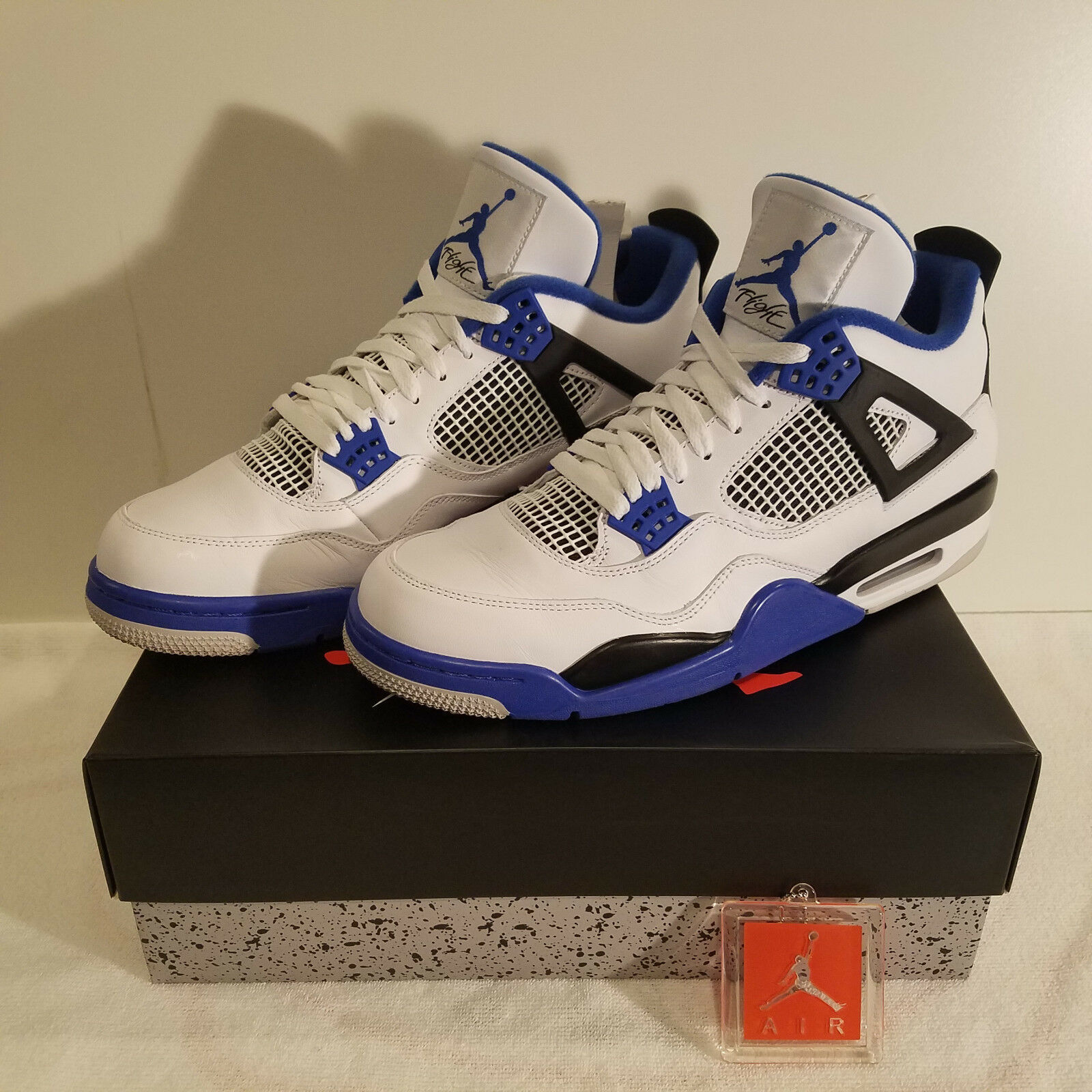 890c3b177f1 Air Jordan 4 Retro Motorsport Men's White Game Black 308497-117 Royal shoes  nefuxb1636-Athletic Shoes