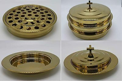 Brasstone-2 Stainless Steel Communion Trays with 1 lid and 1 Bread Tray ,1 lid