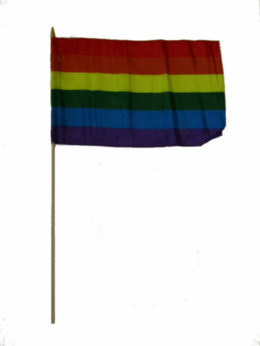 "12x18 12/""x18/"" Wholesale Lot of 6 Rainbow Stripes Gay Pride Stick Flag 24/"" Staff"