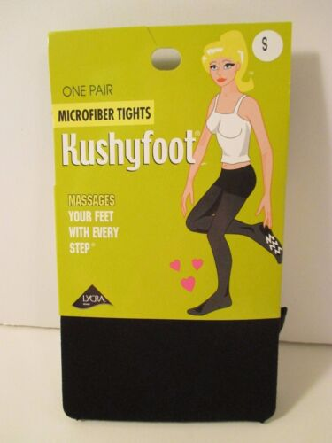 LOT OF 2 KUSHYFOOT MICROFIBER Black Tights~Small 85-135 lb~Padded Massages Sole