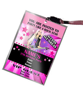 Personalised vip pass lanyard for birthday party invite girls image is loading personalised vip pass lanyard for birthday party invite stopboris Images