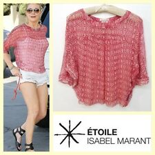 Etoile Isabel Marant $295 'Ziane' coral boho print boxy silk chiffon top~40