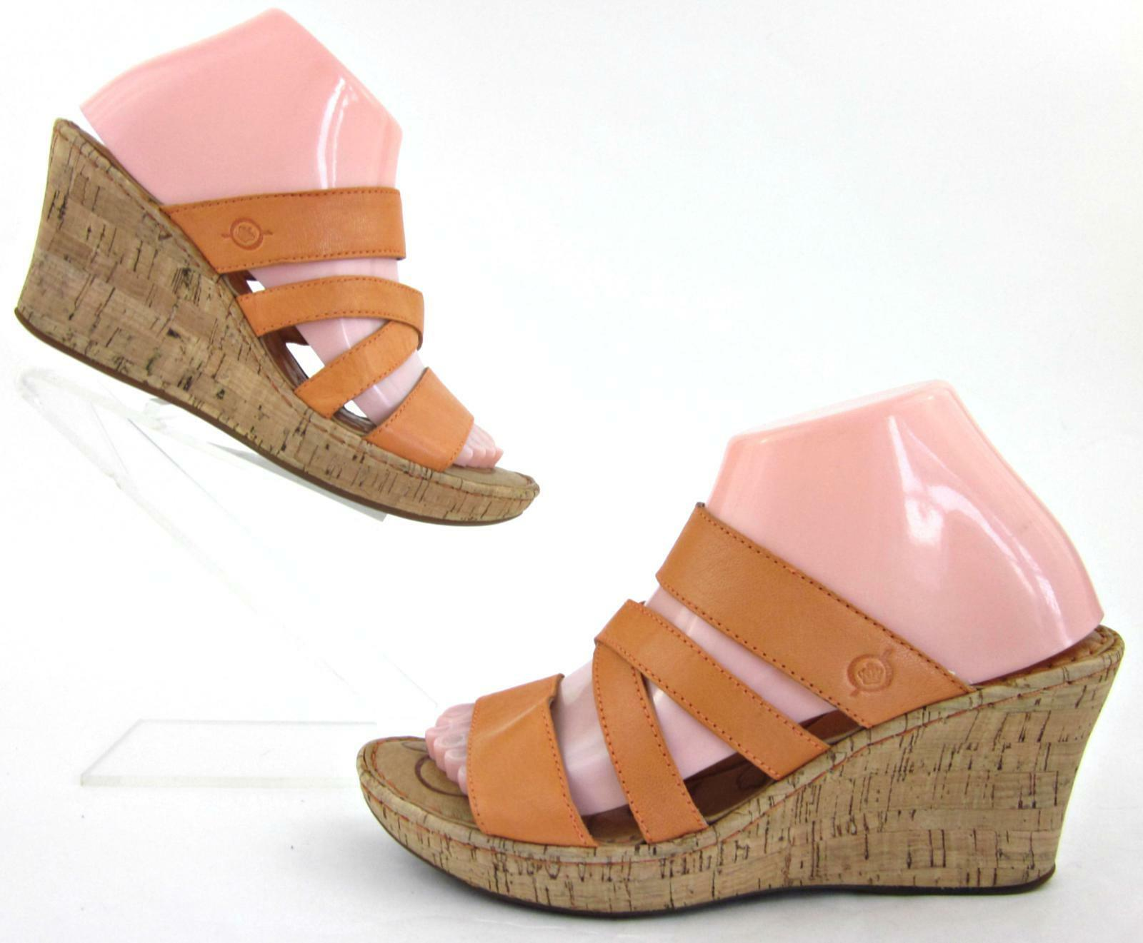 Born Orange 'Zemora' Cork Wedge Sandals Orange Born Leather US 8M fb7cfc
