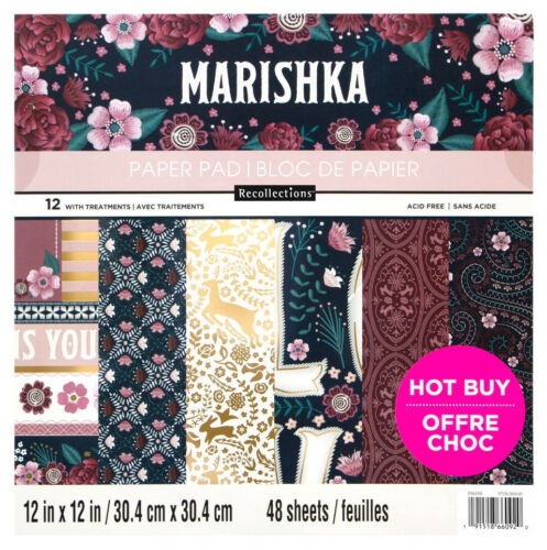 """New Recollections Marishka Paper Pad Embroidery Flowers 12/""""X12/"""" 48 Sheets"""