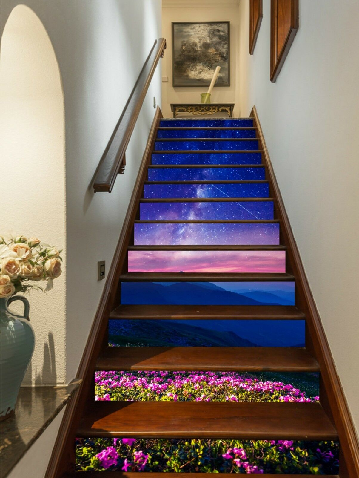 3D Flowers Hills Stair Risers Decoration Photo Mural Vinyl Decal Wallpaper US