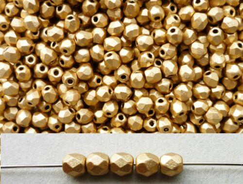 50x feuerpolierte Glasschliffperlen 3mm Satin Gold mattiert metallic # K01710