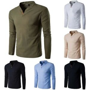 Cotton-Tops-Fashion-Shirt-Men-039-s-Casual-Sleeve-Shirts-Tee-Long-T-Men-Slim
