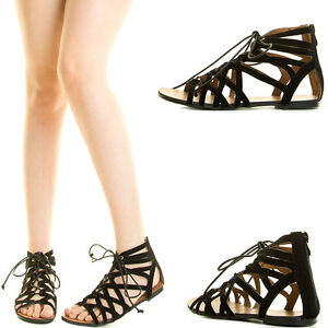 cafdbd9d3eb54 Black Open Toe Strappy Lace Up Cage Cut Out Gladiator Rome Women Zip ...