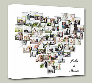 personalised heart shape collage canvas photo canvas print ebay