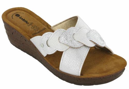 Wedge Sandals Slip On Inblu Padded Leather Insock Cross Strap Open Toe UK 2.5-8