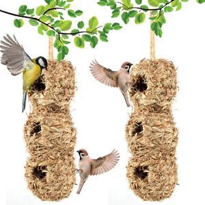 """Hand Woven Hummingbird House 12"""" x 4"""" Outside Grass Hanging Bird Hut'"""