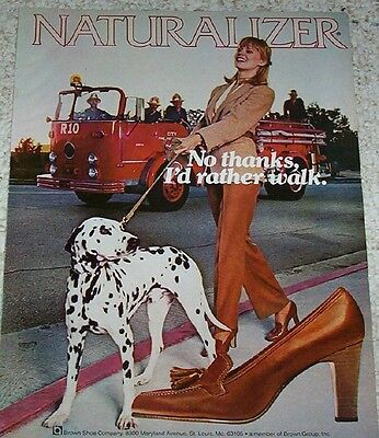1979 ad page - Naturalizer Shoes lady walks dalmatian dog fireman fire engine AD
